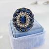 4.55ctw Victorian-era Sapphire and Rose Cut Diamond Ring 24