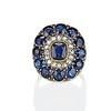 4.55ctw Victorian-era Sapphire and Rose Cut Diamond Ring 0