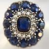 4.55ctw Victorian-era Sapphire and Rose Cut Diamond Ring 10