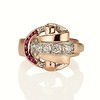 Retro Art Old Mine Cut and Ruby Ring 7