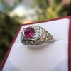 4.95ctw Art Deco Ruby and Diamond Dome Ring 10