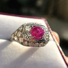 4.95ctw Art Deco Ruby and Diamond Dome Ring 5