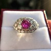 4.95ctw Art Deco Ruby and Diamond Dome Ring 24