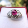 4.95ctw Art Deco Ruby and Diamond Dome Ring 6