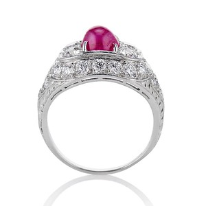 4.95ctw Art Deco Ruby and Diamond Dome Ring
