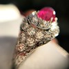 4.95ctw Art Deco Ruby and Diamond Dome Ring 34