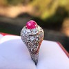 4.95ctw Art Deco Ruby and Diamond Dome Ring 15