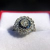 1.88ctw Diamond and Sapphire Double Halo Cluster 6