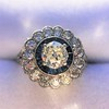 1.88ctw Diamond and Sapphire Double Halo Cluster 5