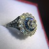 1.88ctw Diamond and Sapphire Double Halo Cluster 20