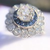 1.88ctw Diamond and Sapphire Double Halo Cluster 41