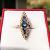 0.97ctw Victorian Diamond and Sapphire Cabochon Navette Ring 7