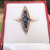 0.97ctw Victorian Diamond and Sapphire Cabochon Navette Ring 5