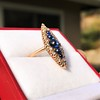 0.97ctw Victorian Diamond and Sapphire Cabochon Navette Ring 10