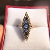 0.97ctw Victorian Diamond and Sapphire Cabochon Navette Ring 6