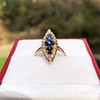 0.97ctw Victorian Diamond and Sapphire Cabochon Navette Ring 21
