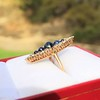 0.97ctw Victorian Diamond and Sapphire Cabochon Navette Ring 3