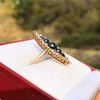 0.97ctw Victorian Diamond and Sapphire Cabochon Navette Ring 22