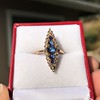 0.97ctw Victorian Diamond and Sapphire Cabochon Navette Ring 9