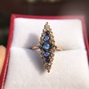 0.97ctw Victorian Diamond and Sapphire Cabochon Navette Ring 14
