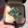Victorian Emerald and Diamond Cluster Ring 5