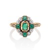 Victorian Emerald and Diamond Cluster Ring 0