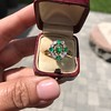 Victorian Emerald and Diamond Cluster Ring 8