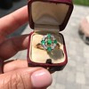 Victorian Emerald and Diamond Cluster Ring 6
