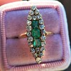 1.40ctw Victorian Emerald and Diamond Navette Ring 13
