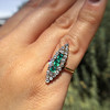 1.40ctw Victorian Emerald and Diamond Navette Ring 9