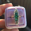 1.40ctw Victorian Emerald and Diamond Navette Ring 18