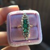 1.40ctw Victorian Emerald and Diamond Navette Ring 16