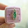 1.40ctw Victorian Emerald and Diamond Navette Ring 8