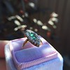 1.40ctw Victorian Emerald and Diamond Navette Ring 19