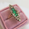 1.40ctw Victorian Emerald and Diamond Navette Ring 5