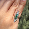 1.40ctw Victorian Emerald and Diamond Navette Ring 22