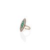 1.40ctw Victorian Emerald and Diamond Navette Ring 1