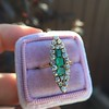 1.40ctw Victorian Emerald and Diamond Navette Ring 21