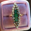 1.40ctw Victorian Emerald and Diamond Navette Ring 7