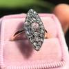 Victorian Rose Cut Diamond Navette Ring 34