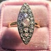 Victorian Rose Cut Diamond Navette Ring 25