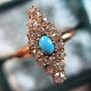 Victorian Turquoise and Diamond Navette Ring 4