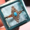 Victorian Turquoise and Diamond Navette Ring 6
