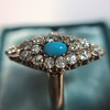Victorian Turquoise and Diamond Navette Ring 7