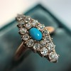 Victorian Turquoise and Diamond Navette Ring 8