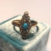 Victorian Turquoise and Diamond Navette Ring 12