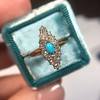 Victorian Turquoise and Diamond Navette Ring 5