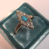 Victorian Turquoise and Diamond Navette Ring 10