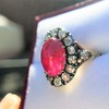 Victorian No-heat Ruby and Diamond Cluster Ring, AGL 16