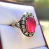 Victorian No-heat Ruby and Diamond Cluster Ring, AGL 15